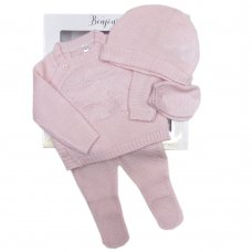 V21585: Baby Girls Knitted 4 Piece Outfit In A Gift Box (NB-6 Months)