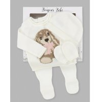 V21586: Baby Girls Rabbit Knitted 4 Piece Outfit In A Gift Box (NB-6 Months)