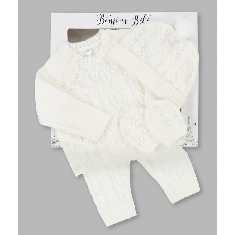 V21587: Baby Girls Knitted 4 Piece Outfit In A Gift Box (NB-6 Months)