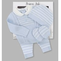 V21588: Baby Boys Cable Knitted 4 Piece Outfit In A Gift Box (NB-6 Months)