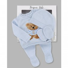 V21593: Baby Boys Bear Knitted 4 Piece Outfit In A Gift Box (NB-6 Months)