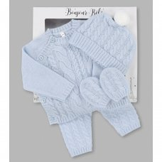 V21594: Baby Boys Knitted 4 Piece Outfit In A Gift Box (NB-6 Months)