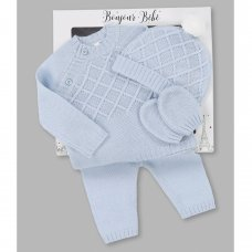 V21595: Baby  Knitted 4 Piece Outfit In A Gift Box (NB-6 Months)