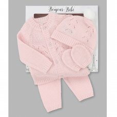 V21597: Baby Girls Knitted 4 Piece Outfit In A Gift Box (NB-6 Months)