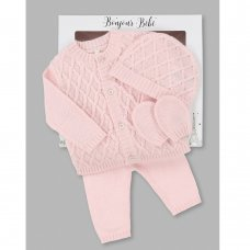V21598: Baby  Knitted 4 Piece Outfit In A Gift Box (NB-6 Months)