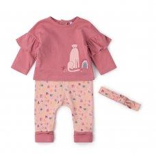 V21621: Baby Girls Organic Cotton Top, Jog Pant & Headband Outfit (0-18 Months)