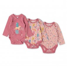 V21622: Baby Girls AOP Organic 3 Pack Bodysuits With Extendable Gussets (0-12 Months)