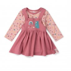 V21624: Baby Girls Organic Cotton Pinafore Dress & Bodysuit  Outfit (0-18 Months)