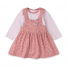 V21627: Baby Girls Organic Cotton Pinafore Dress & Bodysuit  Outfit (0-18 Months)