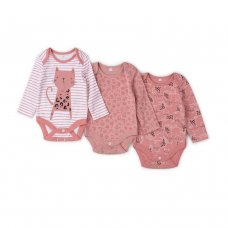 V21628: Baby Girls AOP Organic 3 Pack Bodysuits With Extendable Gussets (0-12 Months)