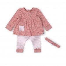 V21630: Baby Girls Organic Cotton Top, Jog Pant & Headband Outfit (0-18 Months)