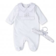 V21639: Baby Unisex Velour All In One With Embroidery Bib On A Satin Padded Hanger (0-6 Months)