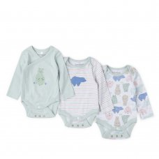 V21658: Baby Boys Organic 3 Pack Bodysuits With Extendable Gussets (0-12 Months)