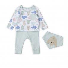 V21660: Baby Boys Organic Cotton Top, Jog Pant & Bib Outfit (0-18 Months)