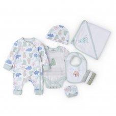 V21661: Baby Boys Organic Cotton 8 Piece Set (NB-6 Months)