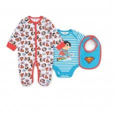 V21729: Baby Superman 3 Piece All In One, Bodysuit & Bib Set (0-9 Months)