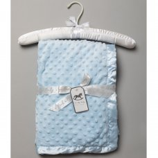 VEL03B: Baby Sky Luxury Ultra Soft Dimple Blanket On A Satin Padded Hanger