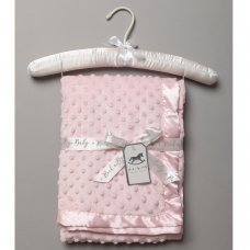 VEL03P: Baby Pink Luxury Ultra Soft Dimple Blanket On A Satin Padded Hanger