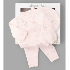W21818: Baby Girls Knitted 4 Piece Outfit In A Gift Box (NB-6 Months)