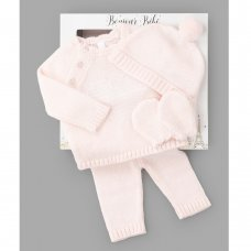 W21821: Baby Girls Knitted 4 Piece Outfit In A Gift Box (NB-6 Months)