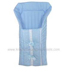 Broderie Anglaise Baby Nest With Ribbon & Bows: Blue