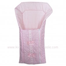 Broderie Anglaise Baby Nest With Ribbon & Bows: Pink
