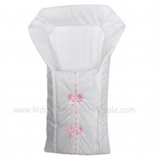 Broderie Anglaise Baby Nest With Ribbon & Bows: White/Pink