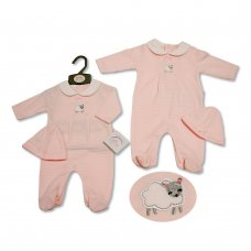 BIS-2020-2252: Baby Girls All in One with Hat - Little Sheep (NB-3 Months)