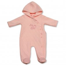 BIS-2020-2256: Baby Girls Quilted All in One with Hood - New to the World (NB-3 Months)