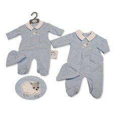 BIS-2020-2275: Baby Boys All in One with Hat - Little Sheep (NB-3 Months)
