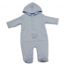 BIS-2020-2282: Baby Boys Quilted All in One with Hood - New to the World (NB-3 Months)