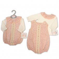 BIS-2020-2328: Baby Girls 2 Piece Romper With Ribbon & Lace (NB-6 Months)