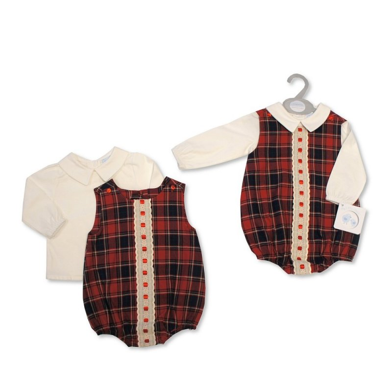 BIS-2020-2334: Baby 2 Piece Romper With Ribbon & Lace (NB-6 Months)