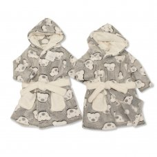 BIS-2020-2342: Baby Teddy Print Hooded Dressing Gown (3-24 Months)