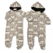 BSB-2020-2343: Baby Teddy Print Hooded All In One (NB-12 Months)