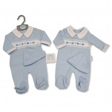 BIS-2020-2347: Baby Boys Smocked All in One with Hat (NB-6 Months)