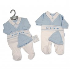 BIS-2020-2348: Baby Boys Smocked All in One with Hat (NB-6 Months)