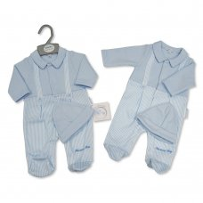 BIS-2020-2349: Baby Boys Mock Braces Quilted All in One with Hat (NB-6 Months)