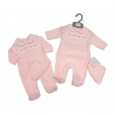 BIS-2020-2352: Baby Girls Smocked All in One with Hat (NB-6 Months)