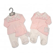 BIS-2020-2353: Baby Girls Smocked Faux 2 Piece All in One with Hat (NB-6 Months)