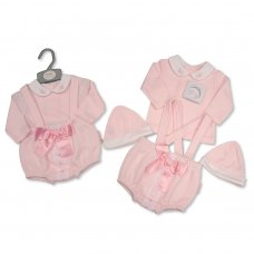 BIS-2020-2354: Baby Girls 3 Piece Outfit With Lace & Bow (NB-6 Months)