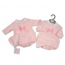 BIS-2020-2355: Baby Girls 2 Piece Romper Set With Lace & Bow (NB-6 Months)