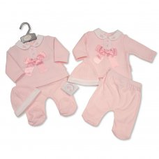 BIS-2020-2356: Baby Girls 3 Piece Outfit With Lace & Bow (NB-6 Months)