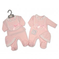 BIS-2020-2357: Baby Girls 2 Piece Outfit With Lace & Bow (NB-6 Months)