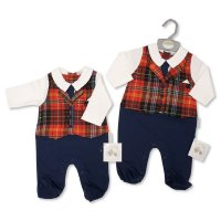 BIS-2020-2400: Baby Tartan Waistcoat All in One (NB-6 Months, Slight Fault)