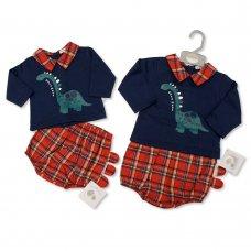 BIS-2020-2403: Baby Tartan 2 Pieces Set - Dino (NB-6 Months)