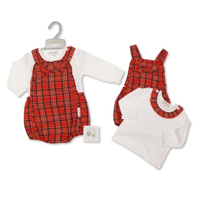 BIS-2020-2404: Baby Tartan 2 Piece Set With Bow (NB-6 Months, Slight Fault)
