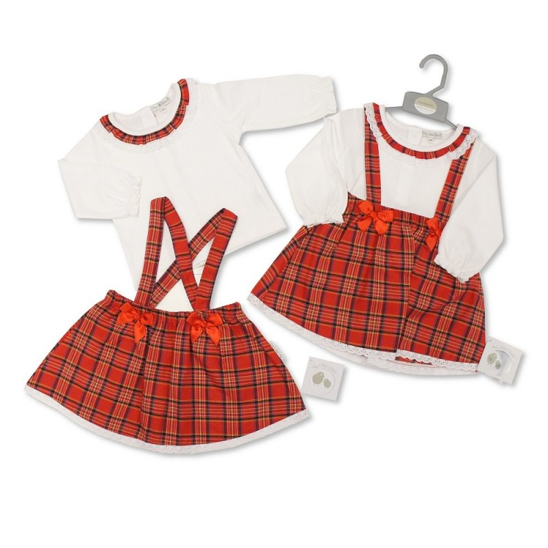BIS-2020-2406: Baby Tartan 2 Piece Skirt Set with Lace and Bows (0-9 Months, Slight Fault)
