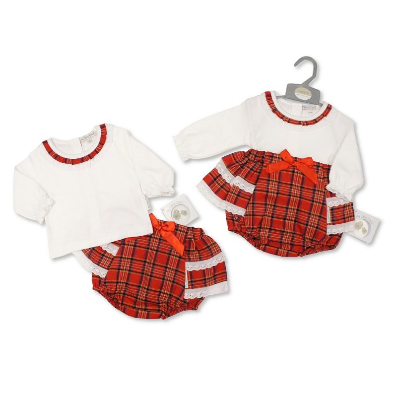 BIS-2020-2407: Baby Tartan 2 Piece Frill Pant Set with Lace and Bow (NB-6 Months, Slight Fault)