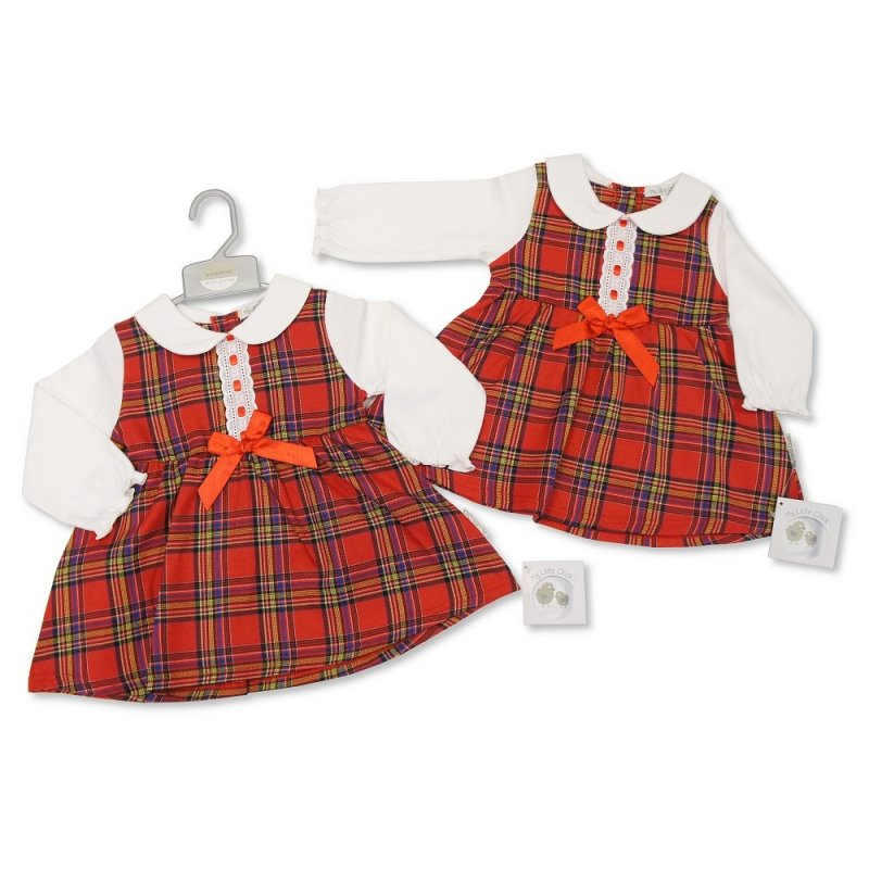 BIS-2020-2410: Baby Tartan Dress with Lace and Bow (0-9 Months, Slight Fault)